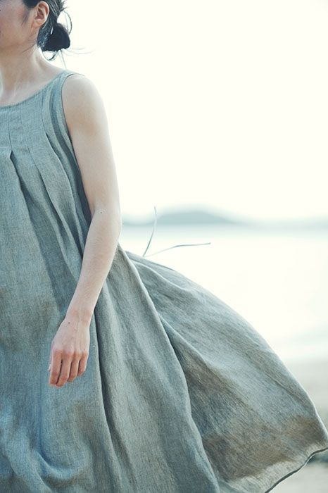 Tucked Dress Made of Belgian Linen