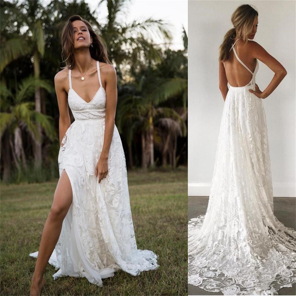 charming lace long aline fashion spaghetti straps wedding