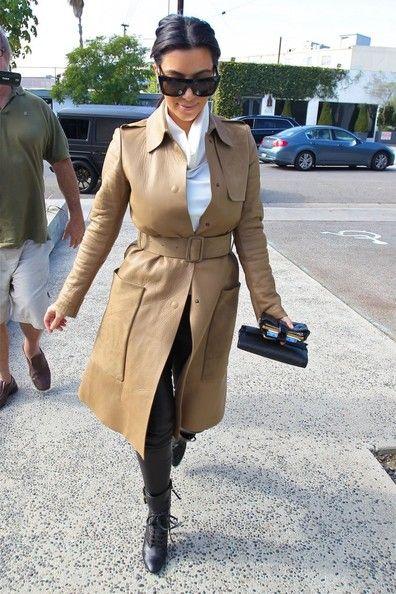Kim Kardashian - Beige Leather Trench