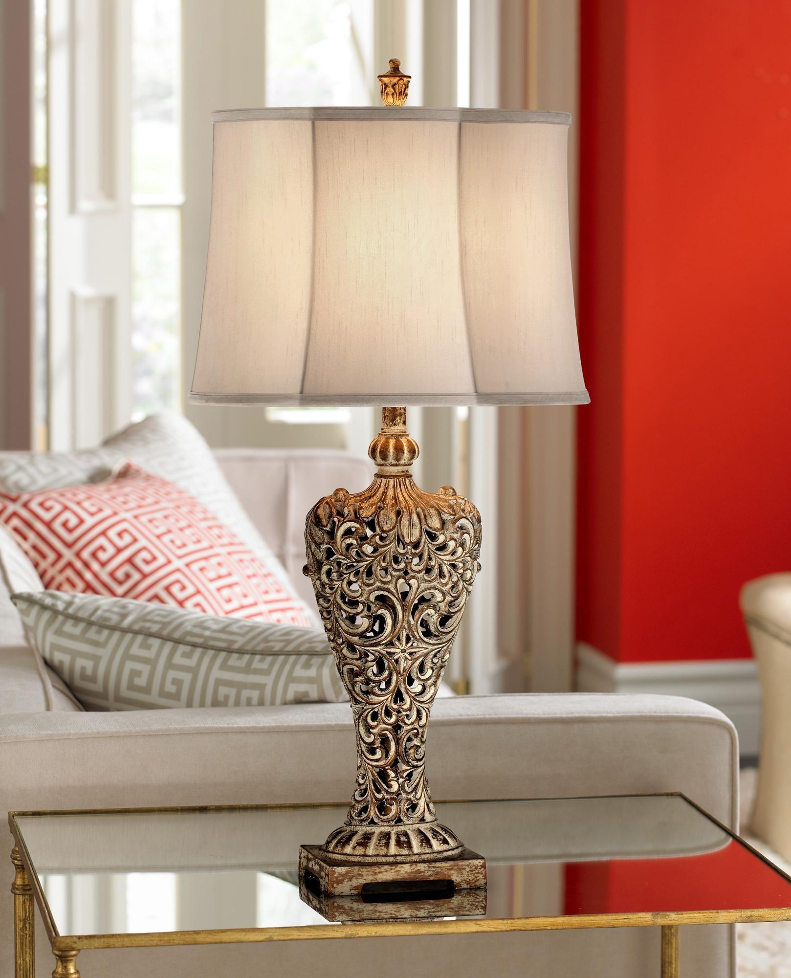 Elle Carved Antique Gold Classic Table Lamp 3j928 Lamps Plus