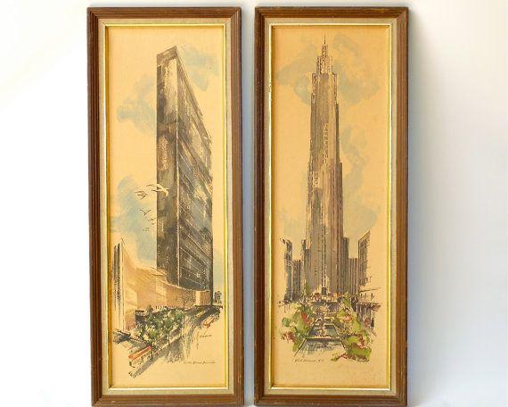 Mid Century Modern New York Art Print Pair - Mad Men Wall Decor - 26 ...