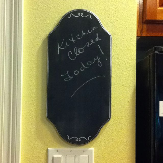 Make your own chalk board! All you need is chalk board paint, a paint pen, and a blank cut out!