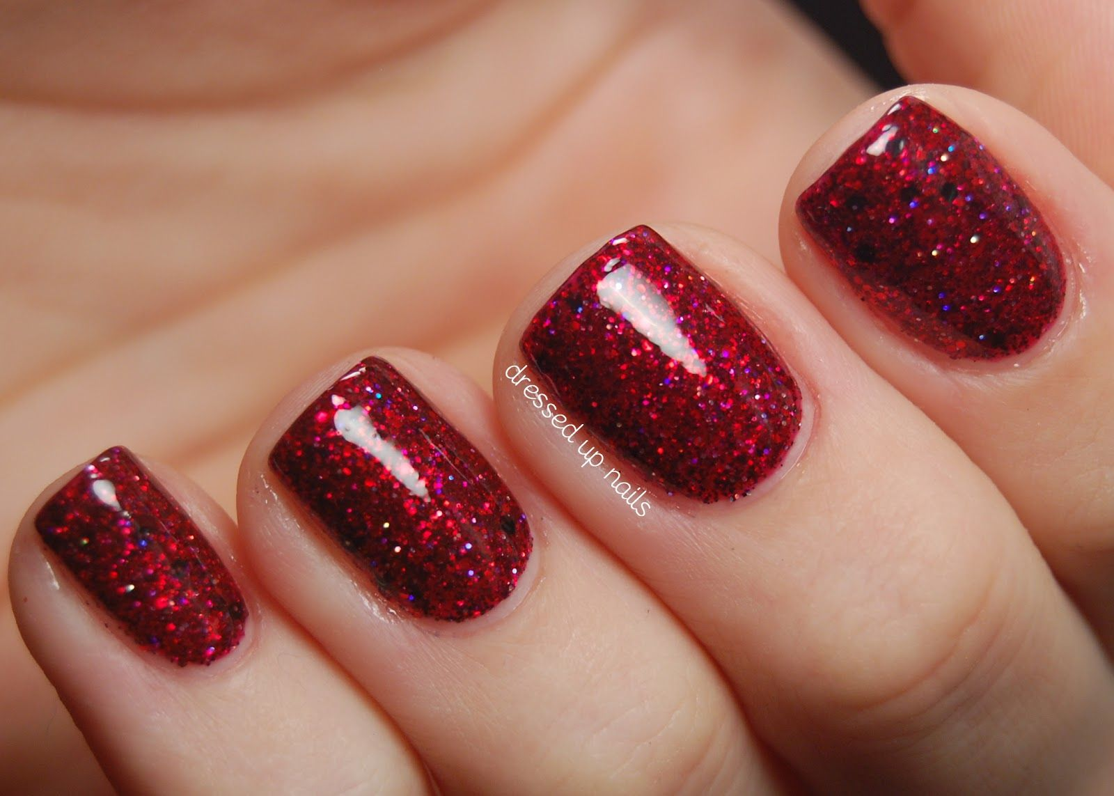 Dark Red Glitter nails art for short nails | Nails | Pinterest | Red ...