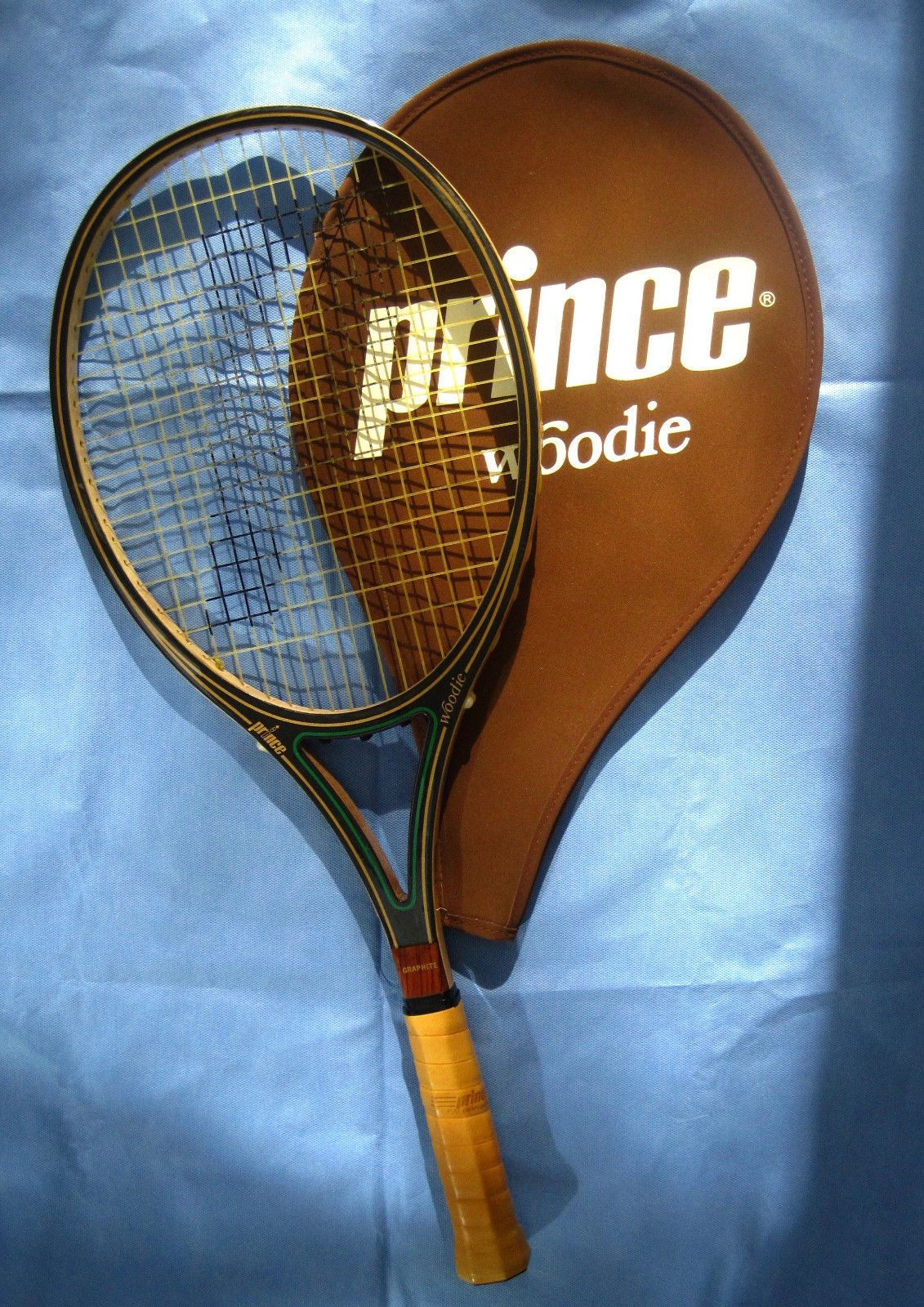 Vintage Prince Woodie Tennis Racqueteuc Graphite 4 1 2 Leather Grip Orig Cover Tennis Prince Tennis Racket Prince Tennis
