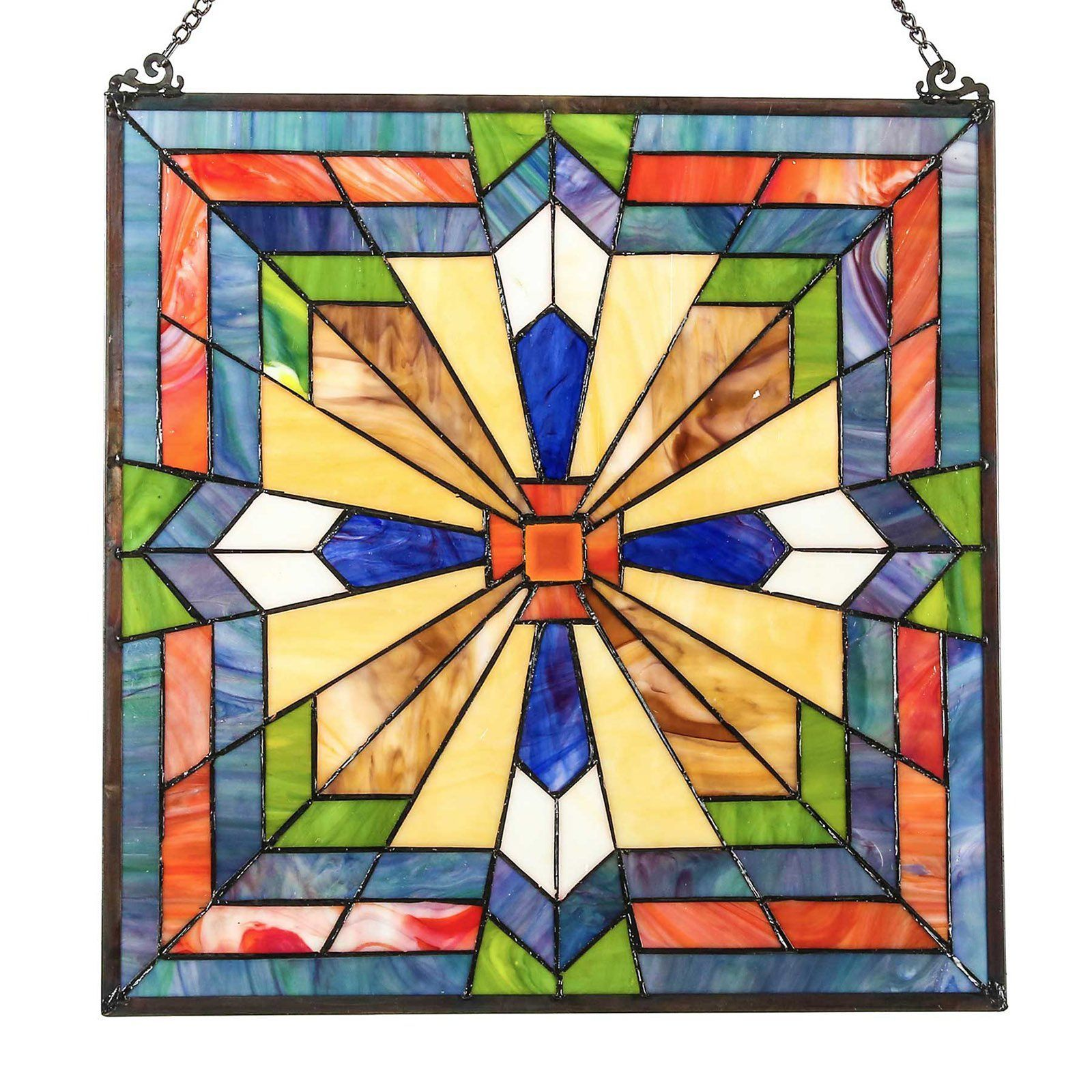 River of Goods 18 in. Stained Glass Southwest Sunburst Window Panel ...