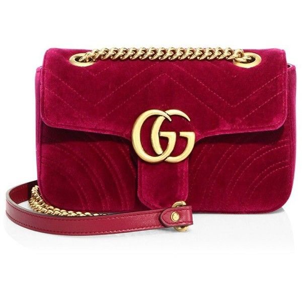 3b46acb9d21156 Gucci GG Marmont Velvet Chain Shoulder Bag ($1,290) ❤ liked on Polyvore  featuring bags, handbags, shoulder bags, gucci purse, chain shoulder bag,  shoulder ...