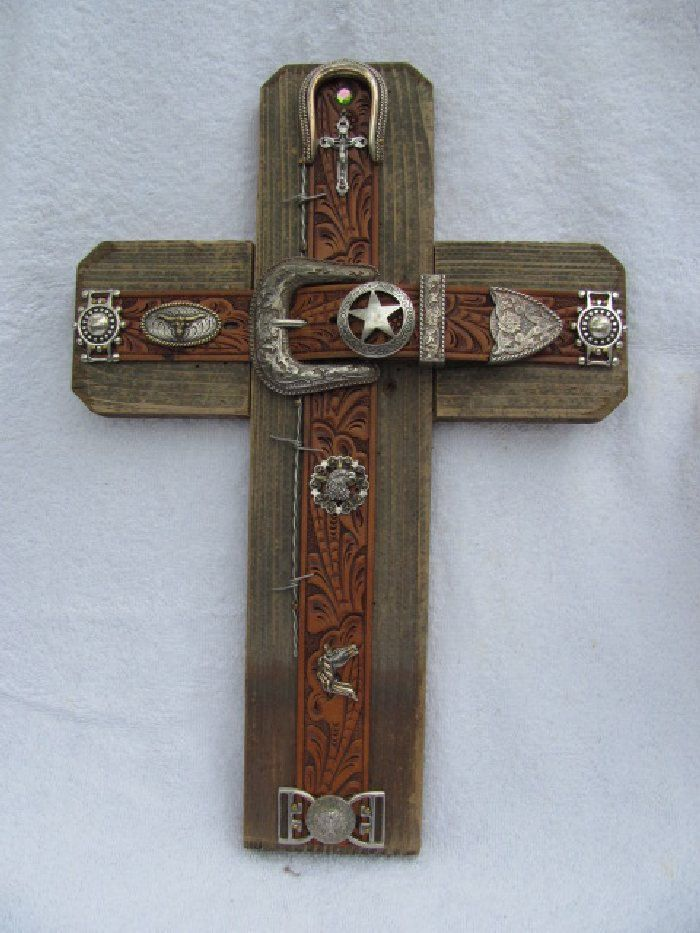 WESTERN cross, handcrafted aged cedar wood, leather belt cross for a ...
