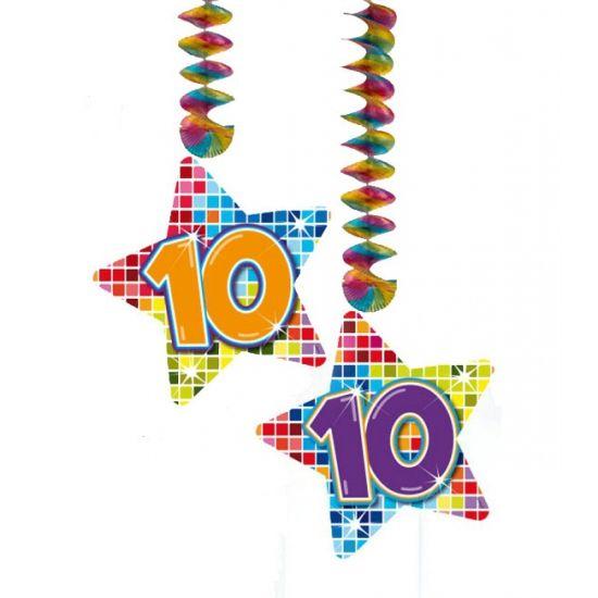 Hangdecoratie sterren 10 jaar. Hangdecoratie in de vorm van sterretjes met het getal 10. De decoratie is verpakt per 2 stuks en is ongeveer 13,3 x 16,5 cm groot.