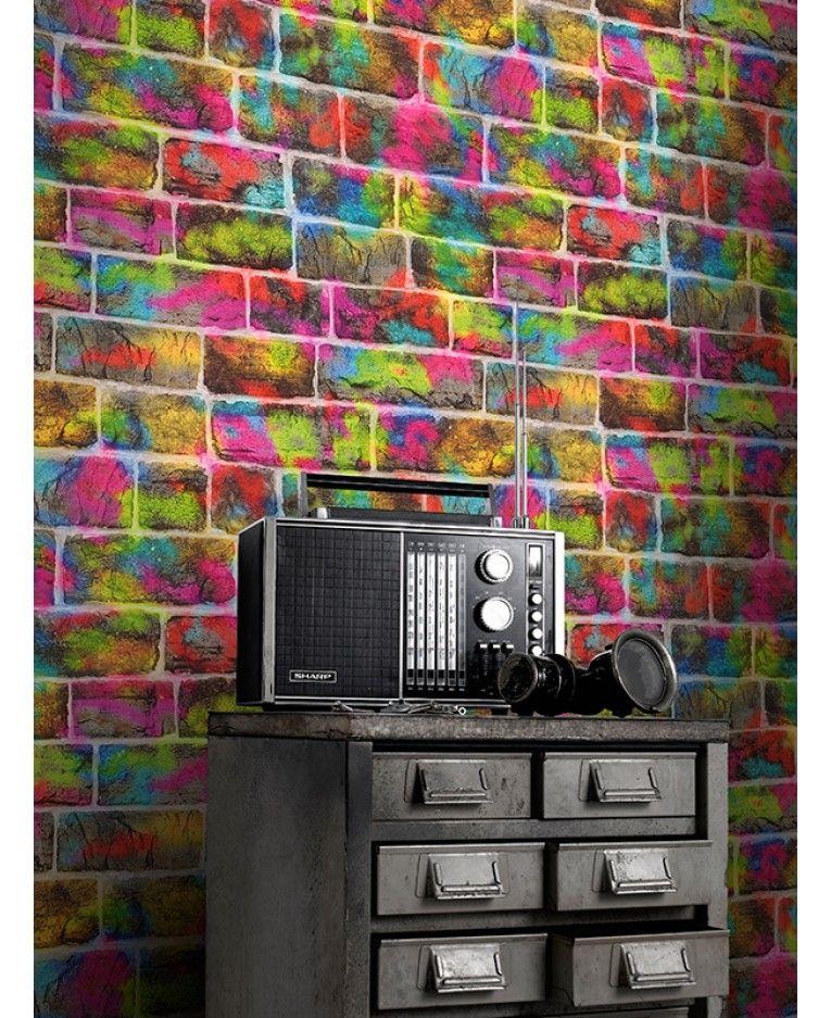 Brick Graffiti Wallpaper Rasch 291407 Graffiti wallpaper
