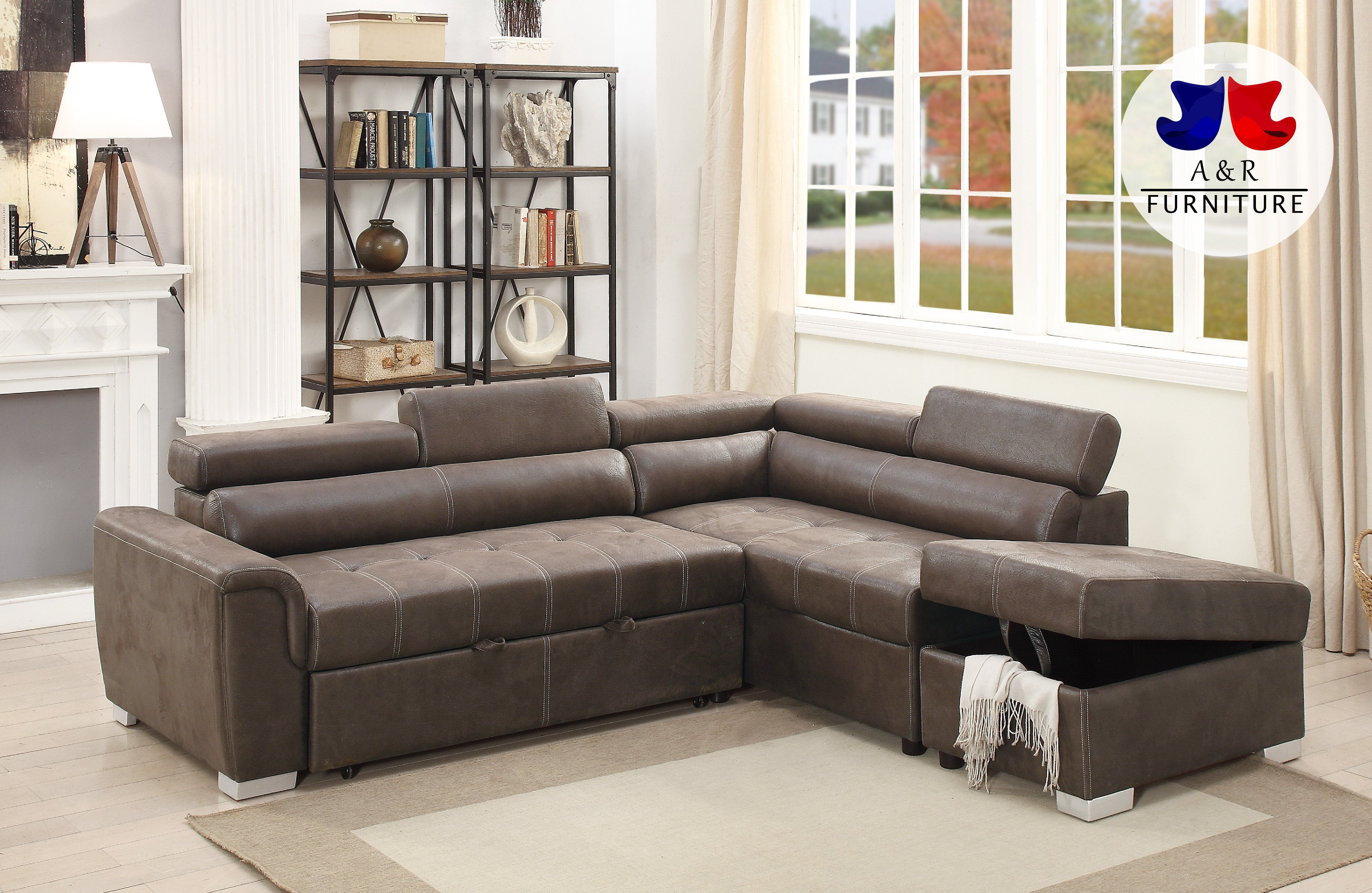 Espresso Convertible Sectional Sofa Bed W Ottoman Pdx 38