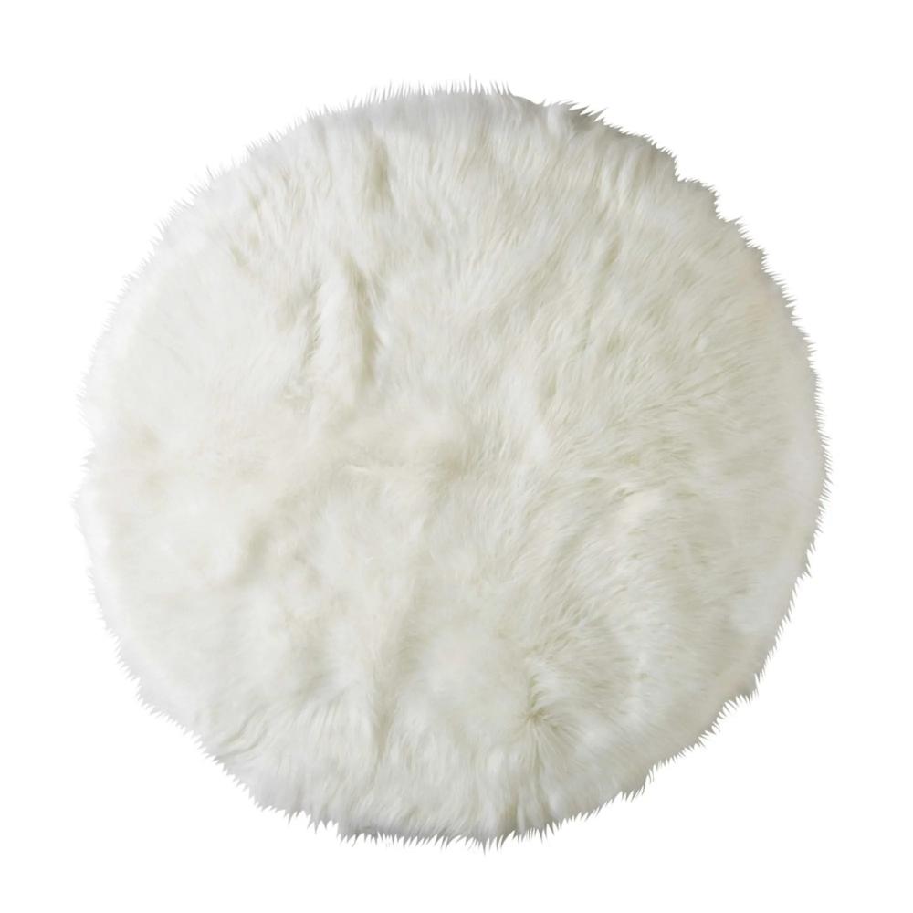 Tappeto rotondo in simil pelliccia bianco D.140 cm in 2020