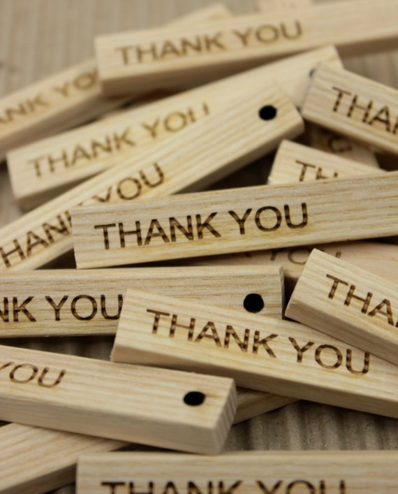 Set of 25 thank you tags, wooden tags, wooden favor tags