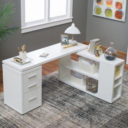 Hudson L Shaped Desk White Desks At Hayneedle Home Office Design Office Desk Decor Cool Office Desk