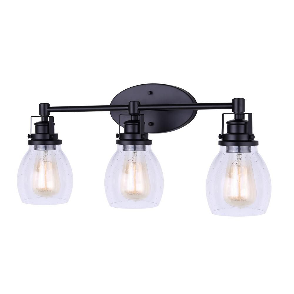 Canarm Carson 24 In 3 Light Matte Black Vanity Light With Seeded Glass Shade Ivl705a03bk In 2020 Black Vanity Light Vanity Lighting Bathroom Light Fixtures