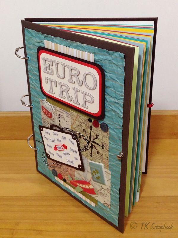 Álbum de fotos em scrapbook Eurotrip (visão das páginas internas ...