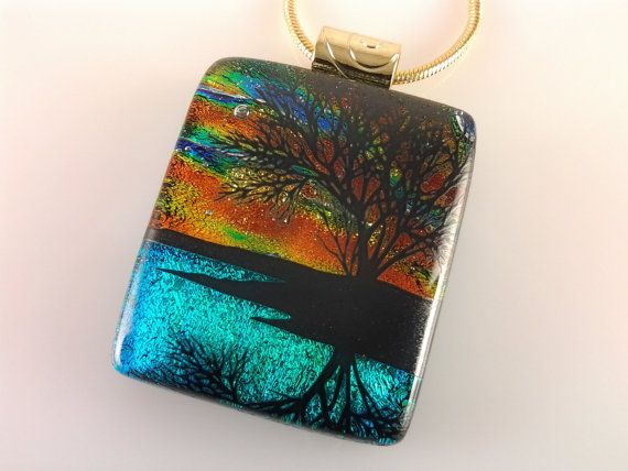 Fused Glass Jewelry Dichroic Sunset Tree Pendant by AngelasArtGlass
