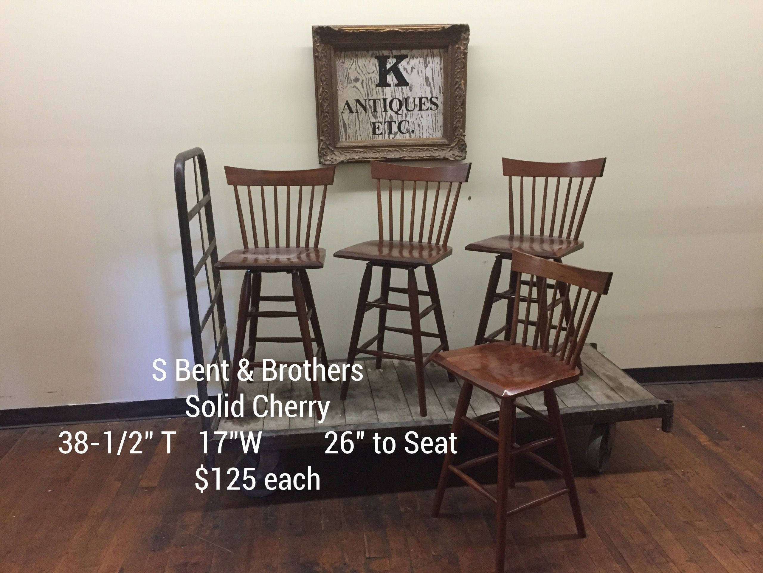 S Bent U0026 Brothers 1867 2000 Gardner Ma Solid Cherry Windsor Stools Counter  Height Barstools