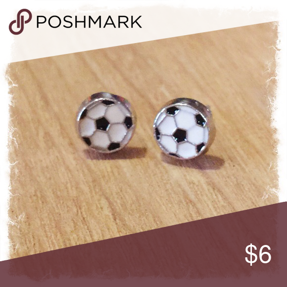 🎀Small Soccer Ball Stud Earrings🎀 Small (6mm)Lead/Nickel free posts with rubber backs.  Mix and match any 3 pairs in my closet for $14.  (1) Pair for $6 (2) Pairs for $11 (3) Pairs for $14 Jewelry Earrings
