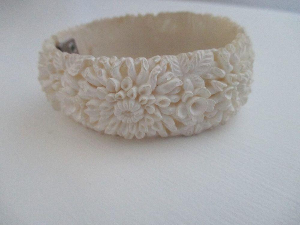Best Vintage Carved Celluloid Clamper Bracelet Detailed Floral 400 x 300