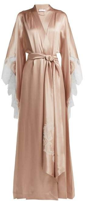 a6fefeb2f6a Carine Gilson - Lace Embroidered Silk Satin Robe - Womens - Light Pink