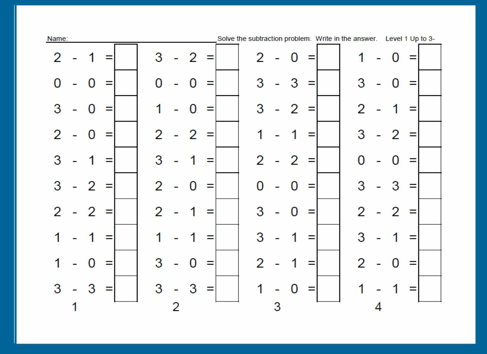 Worksheet For Building Subtraction Fluency One Column A Day Is Completed Part Of Kindergarten