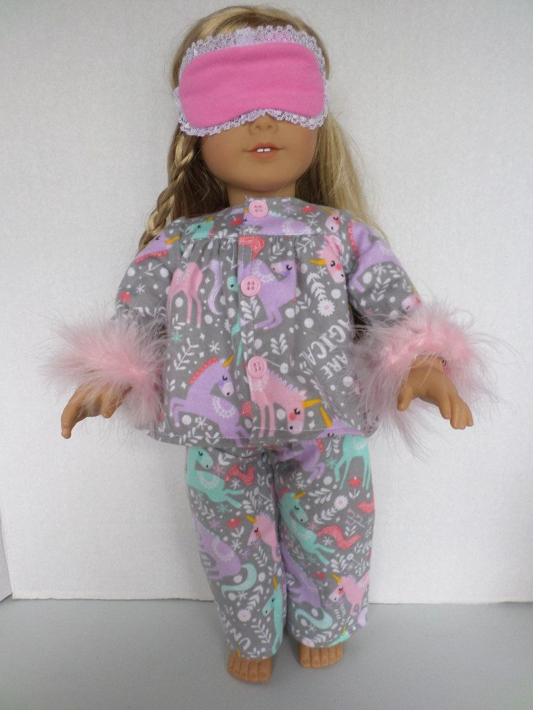 Unicorn flannel pajamas and sleep mask American made to fit 18 inch Gi4l Dolls.
