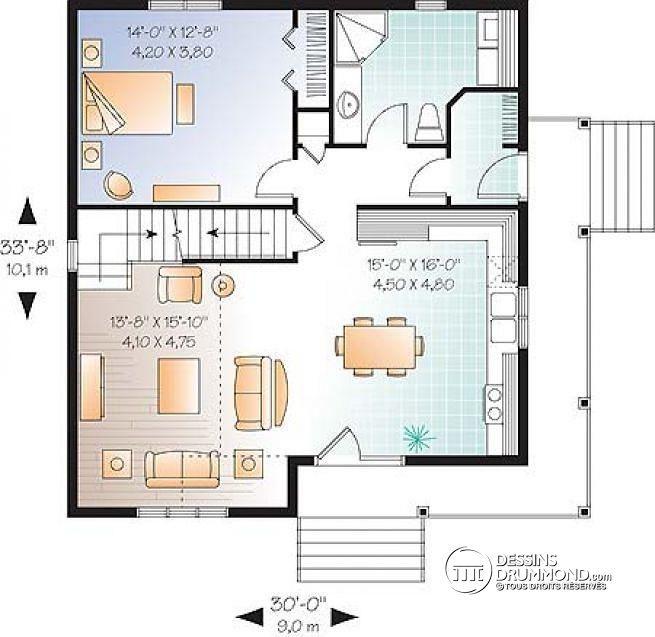 W2597-V1 - Maison de style cape cod de 2 chambres avec 2 séjours et - plan maison une chambre