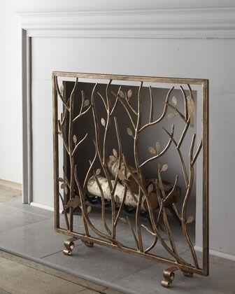 bird branch fireplace screen horchow needs mesh - Decorative Fireplace Screens