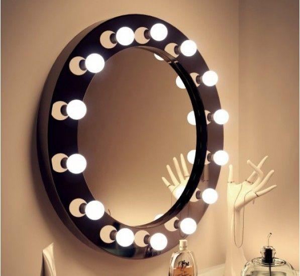 High Gloss Circle Led Hollywood Mirror Black Hollywood Mirror