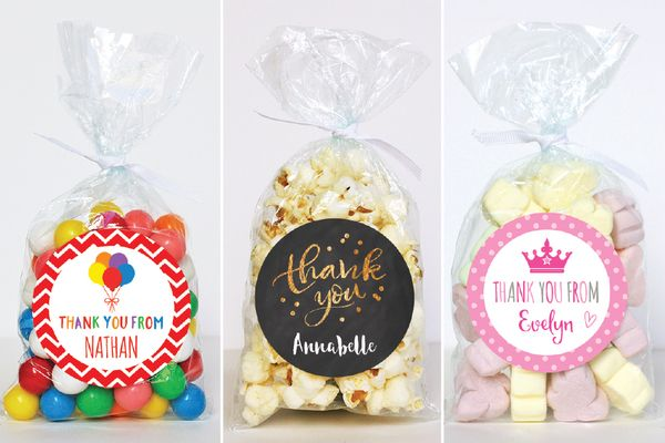Thank You Gift Ideas Your Party Guests With These Birthday Favor Stickers And Bags Get A Set Of 24 For 65 Off