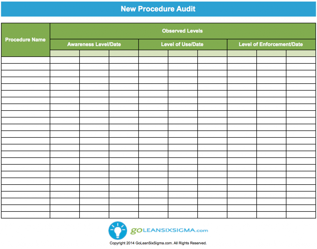 New Procedure Audit  Project Management And Template