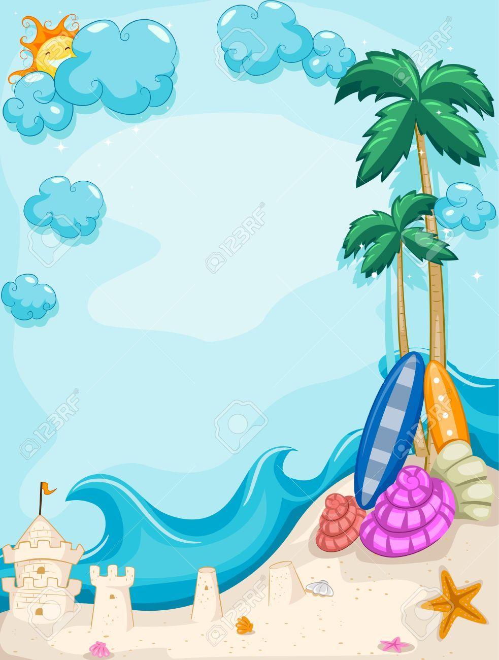 vertical tropical beach frame a sand castle clipart