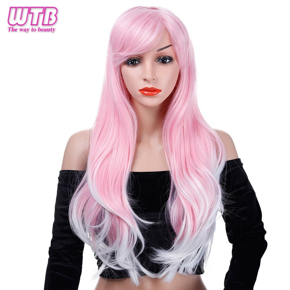 Wtb Synthetic Long Wavy Pink Wigs For African American