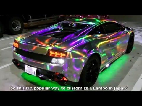 Custom Car Culture In Japan Lamborghini With Leds Hologram Vinyl