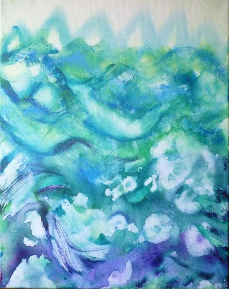 """11"""" x 14"""" Abstract painting on canvas. $20.00, via Etsy."""