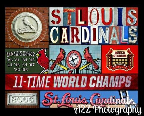 st louis cardinals baseball collage 8x10 fine art wall art. Black Bedroom Furniture Sets. Home Design Ideas