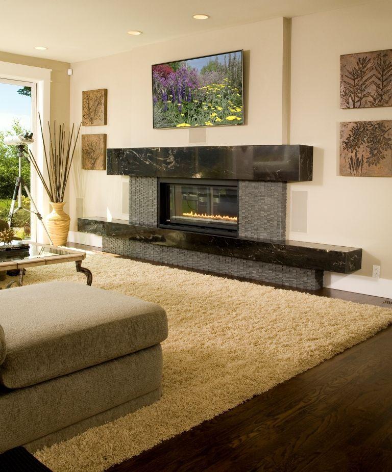 Living Room, Modern Fireplace, Flatscreen Television