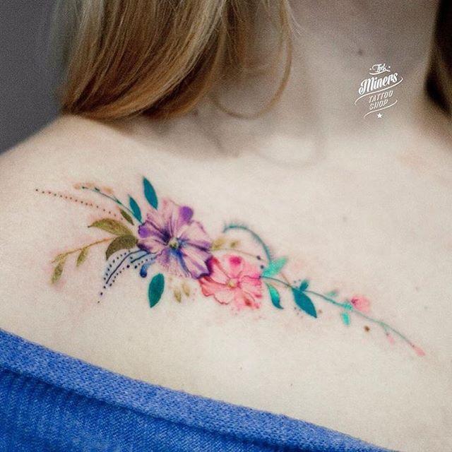 0d38c5623 Flower Collar Bone Tattoos Tattoos A Color, Color Bone Tattoo, 3d Flower  Tattoos,