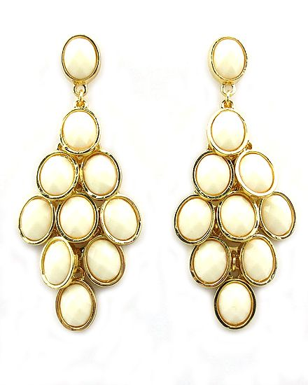 Dottie Couture Boutique - Jeweled Chandelier Earrings- Ivory ...