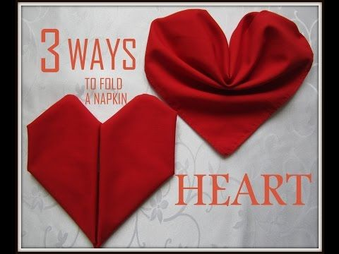 How to fold a napkin into a heart - Easy Tutorial - DIY - YouTube #diynapkinfolding