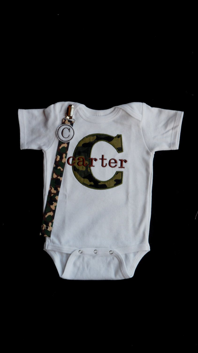 Baby boy gift set with camo monogram onesie and pacifier