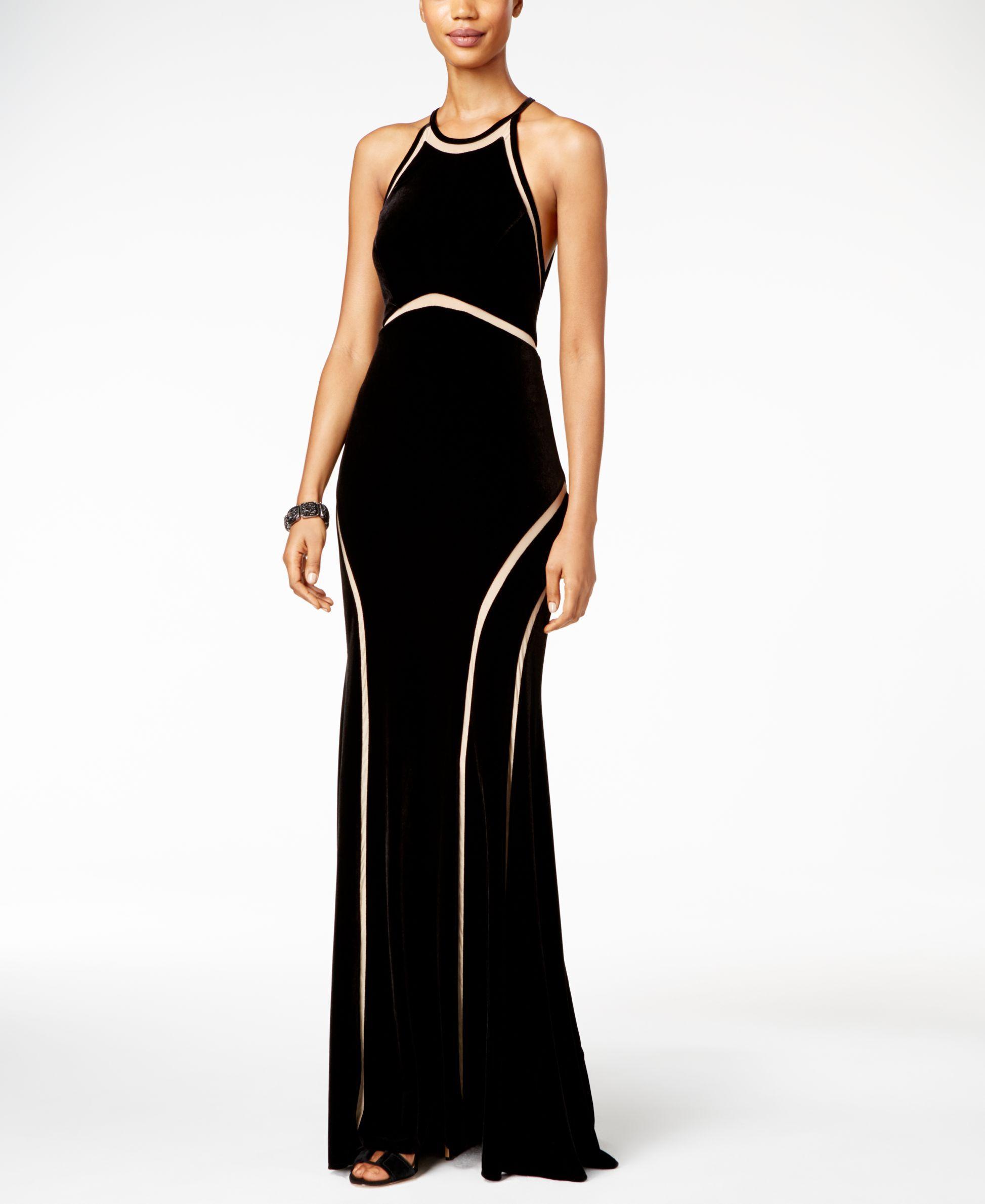 Xscape velvet illusion cutout gown products pinterest products