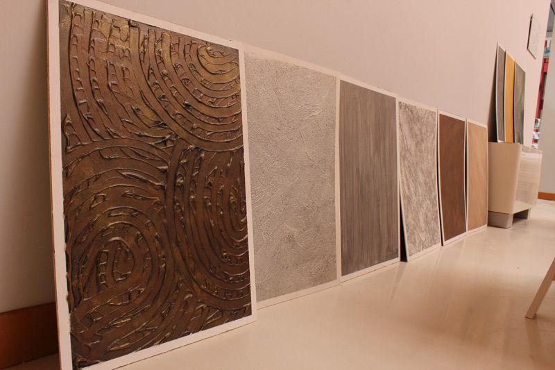 Alcuni pannelli con gli effetti decorativi realizzati tramite le tecniche proposte da caparol - Effetti decorativi pareti ...