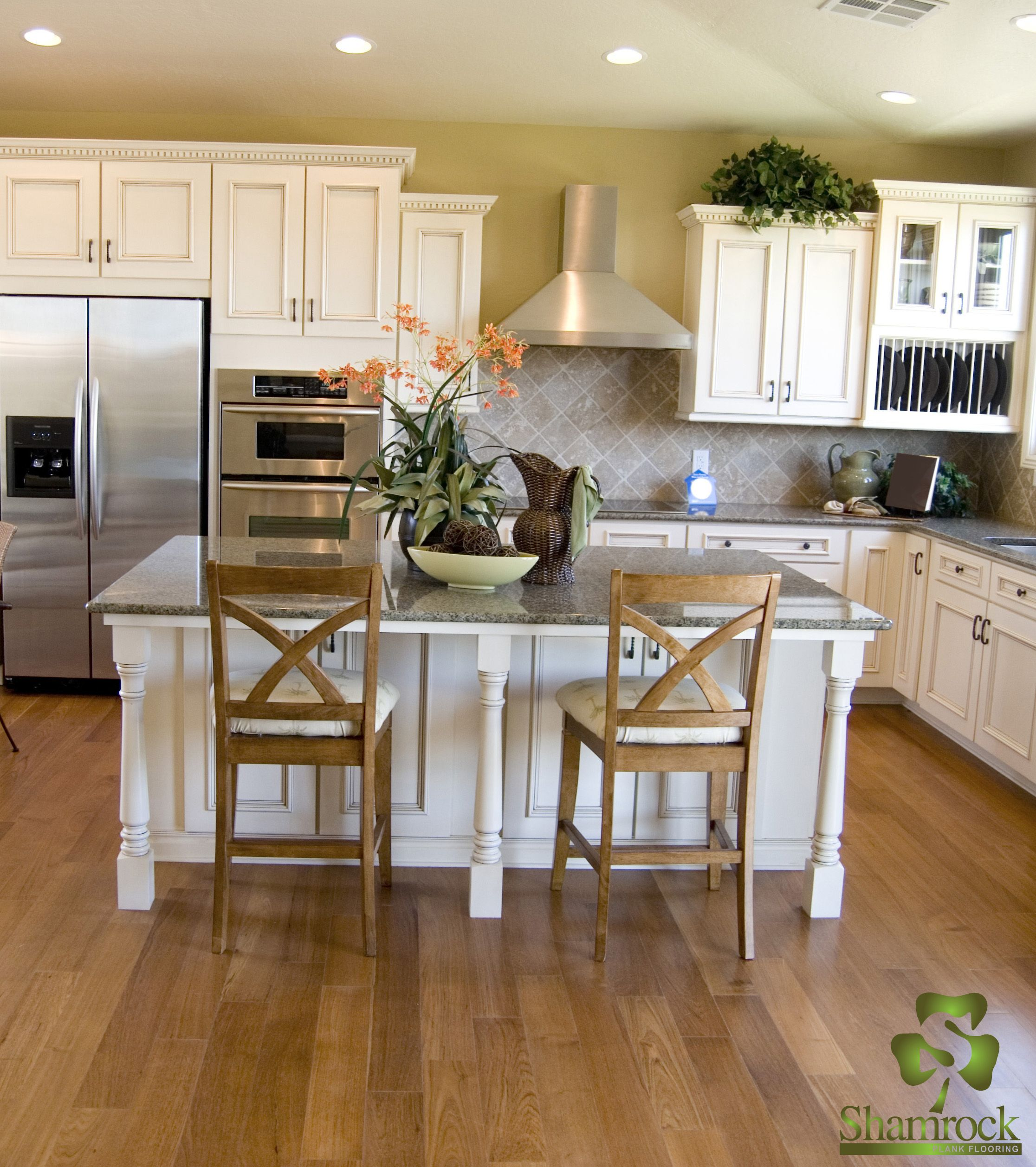 White oak flooring in kitchen by Shamrock Plank Flooring