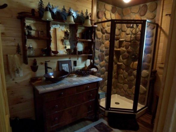 Log Cabin Bathroom Sinks Rustic Cabin Bathroom I Created This Rock Shower Using Manufactured Cabin Bathrooms Rustic Cabin Bathroom Rustic Cabin