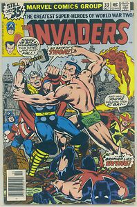The Invaders #33 1975 Marvel Comic WWII Era INVADERS Vs. THE MIGHTY THOR! F S/H!
