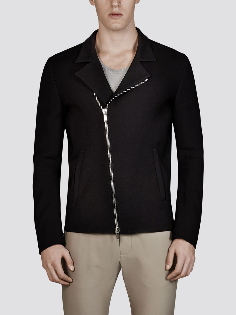 Jeffrey Rüdes | Black Biker Zipped Jacket in Wool and Silk