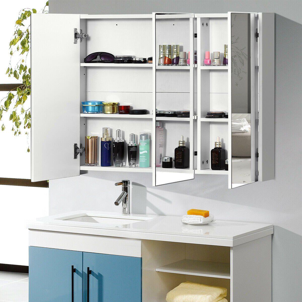 36 Wide Wall Mount Mirrored Bathroom Medicine Cabinet Triple Mirror Door Walmart Com In 2021 Bathroom Medicine Cabinet Medicine Cabinet Storage Adjustable Shelving