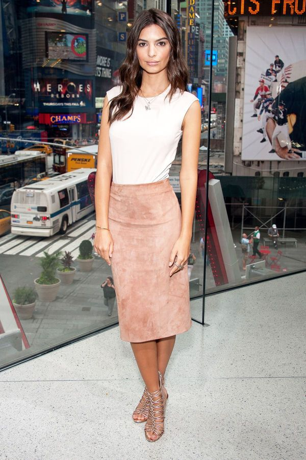 3d0c319c71 Emily Ratajkowski in a blush tee and suede pencil midi skirt with strapped  silver heels