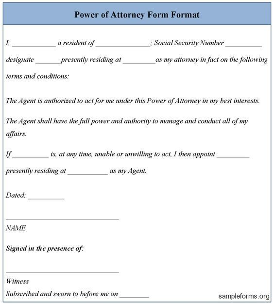 Free Power Attorney Template Power of Attorney Form Template